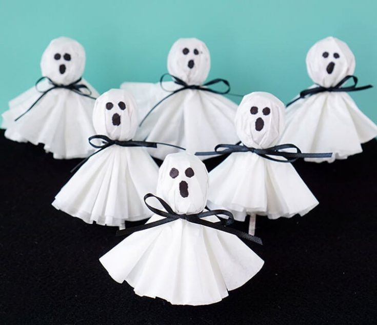 Coffee Filter Ghost Lollipops