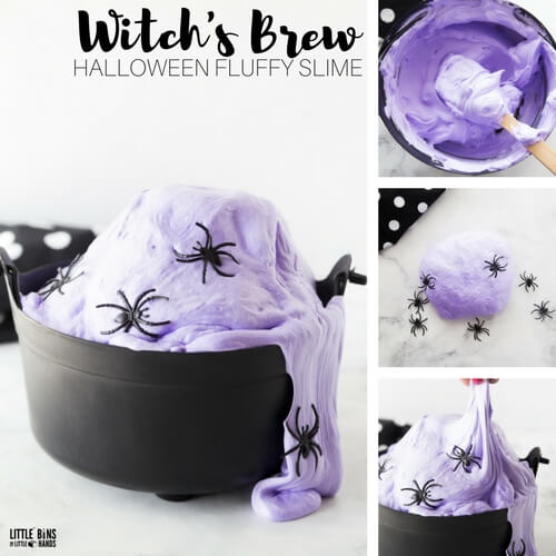 Witch's Brew Fluffy Halloween Slime Recipe for Kids