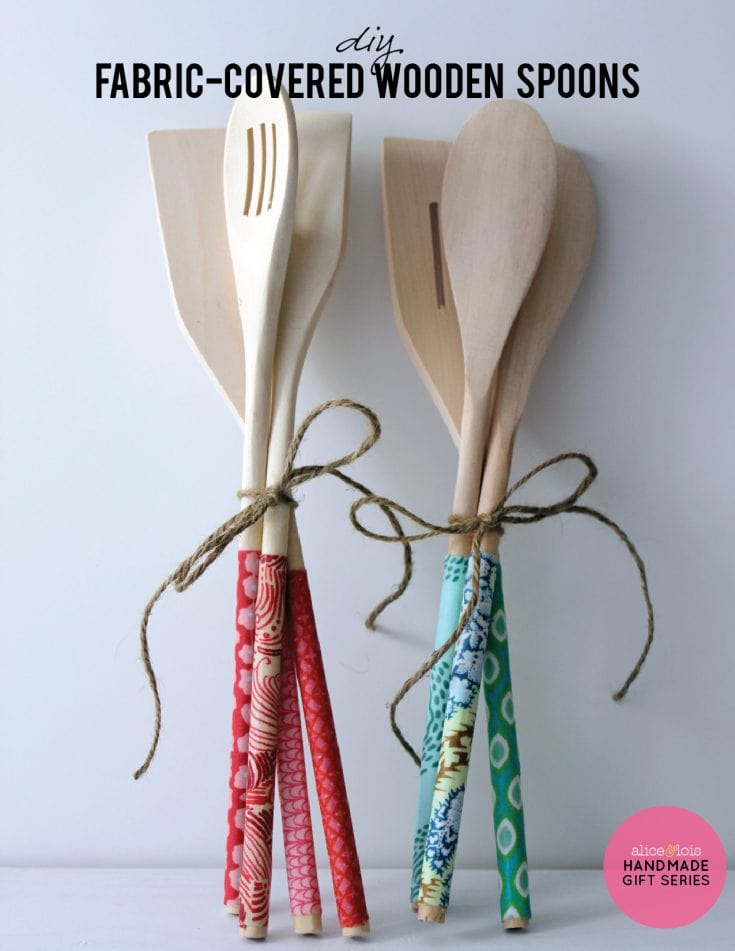 DIY Fabric-covered wooden spoons