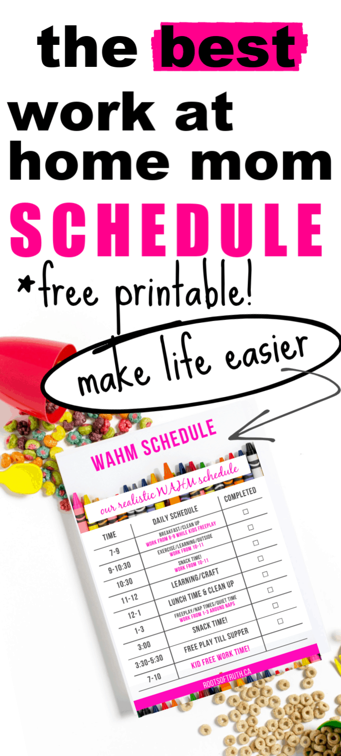 work at home mom schedule printable